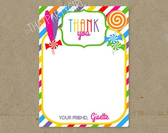 DIY Candy Shop Birthday Party Thank You Notes Digital U Print