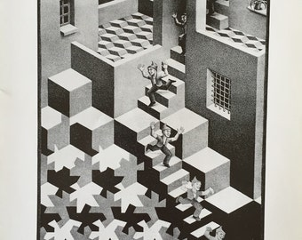 MC Escher Cycle 1938 An Original Book Page Illustration from Vintage 1983 Art Book