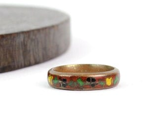 70s Enamel Ring • Floral Copper Ring • Cloisonne Ring • Cloisonne Jewelry