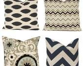 Burlap Pillow Covers - Sofa Pillows - Decorative Pillow Cover - Throw Pillow Cover - All Sizes Chevron Pillow - Couch Pillow - Black Pillow