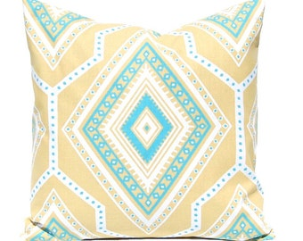 Gold Pillow Covers, Decorative Throw Pillow Cover, Turquoise Cushion Covers, Tribal Pillow, One All Sizes Gold Turquoise Pillows Diamonds