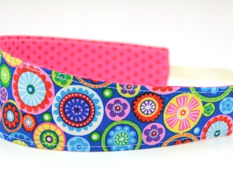 Reversible Fabric Headband- Children Toddler in Timeless Treasures Floral Medallions Multi Colored Rainbow on Blue
