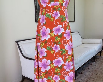Vintage 1970's/Hawaiian Dress/Hawaiian Maxi Dress/Hawaiian Floral Maxi Dress/ Luau Dress/ Vintage Hawaiian/Karen Ann/ Size M