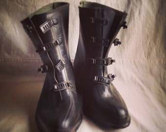 Vintage Uniroyal golashes  rubber boots  steampunk snaps