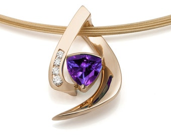 14k gold necklace, alexandrite necklace, diamond necklace, June birthstone, modern jewelry, statement necklace, artisan jewelry - 3369