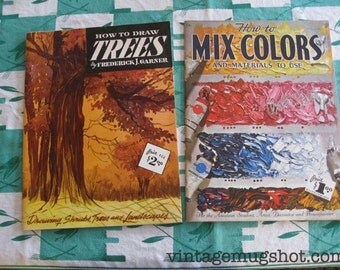 2 Vintage How To Draw Books Trees and How To Mix Colors  Fifties Sixties Art Instruction