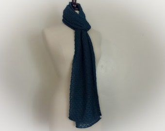 Hand knitted lace scarf in pacific green blue, alpaca / silk blend