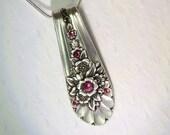 Spoon Necklace, 'Jubilee' 1953, Rose Pink Swarovski Crystals, Spoon Jewelry, Silverware Pendant