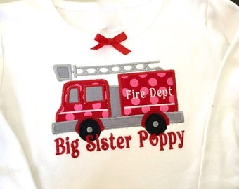 Boy / Girl Shirt or Onesie Fire Truck with Big Sister or Big Brother  and Name