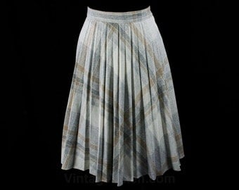 Size 4 Cute Skirt - 1970s Pale Gray & Beige Pleated Skirt - Pleats - Small Neutral Wool Blend School Girl Fall Skirt - Waist 25 - 42858