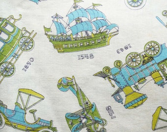 Cotton airplane print fabric etsy for Airplane print cotton fabric