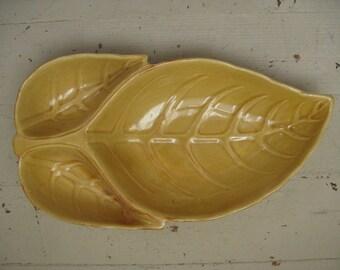 vintage harvest gold leaf bowl california usa mid century decor coffee table bowl fall decor