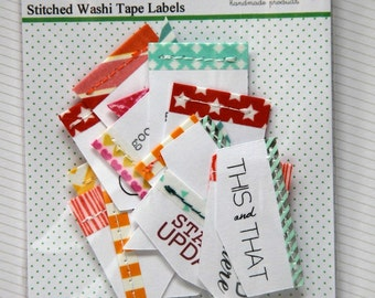 20 Stitched Washi Tape Labels