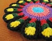 Flower Hot Pad/Trivet - Crocheted Pot Holder - Crochet Trivet - Crocheted Flower Hot Pad - Crochet Flower Trivet