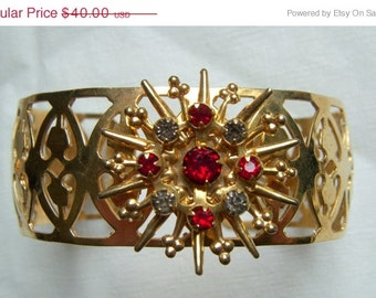Star Cuff Bracelet with Red and Gray Rhinestones