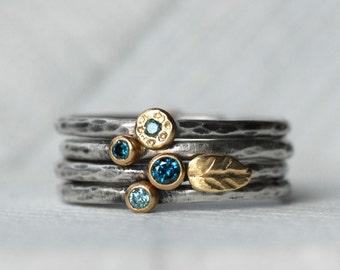 Diamond and Blue Zircon Leaf Ring Set - 18k Gold and Silver Stack Rings - Set of 4 Diamond and Blue Zircon Rings
