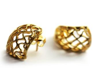 Unique modern jewelry, Honey bee earrings, Gold earrings, Bee hive earrings, Gold earrings gift, Bday earrings, minimalist spring honey hive