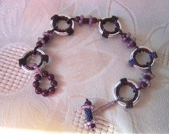 Bracelet Peyote Stitch and Metal Ring Beadweaving Bracelet