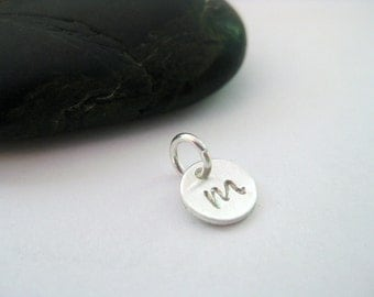 Hand Stamped Letter Charm, Fine Silver and Argentium Silver Personalized Charm, Rachel VanNatten Jewelry, Mom Jewelry