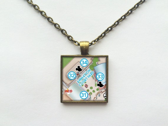 Voyage of the Little Mermaid Necklace from Walt Disney World Hollywood Studios Park Map