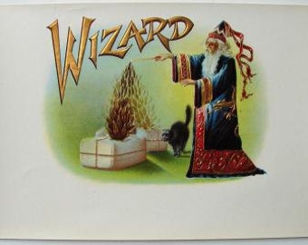 1920s Antique Magic Magician A Wizard Black Cat Embossed