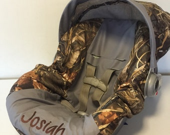 MAX 4 advantage CAMO with gray Infant Car Seat Cover and Canopy with Free Monogram or ChOoSe ANY color