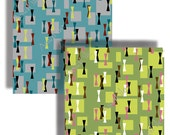 MIDCENTURY MODERN Abstract Retro 12 X 12 Inch Scrapbooking Wallpaper Decoupage Collage Backgrounds Printable Digital 6 Color Schemes PARKWAY