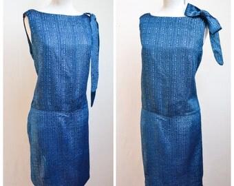1960s Blue lurex bow party dress / 60s metallic evening dress - L M