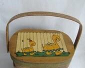 Wooden Woven Basket Handbag