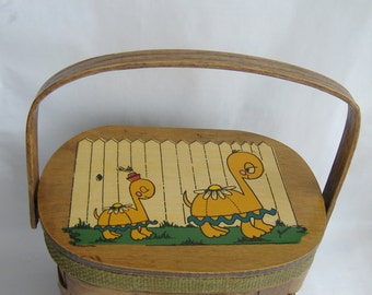 Wooden Woven Turtle Basket Handbag, Lined, Mirror