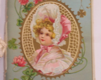 "Messages of Love  G.B.F Hallock   4X5"" Chromolithograph booklet front plus 4 add. color illustrations 1900+ -"