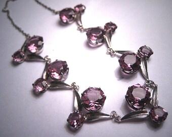 Antique Amethyst Necklace Vintage Victorian Art Deco c.1920 Silver