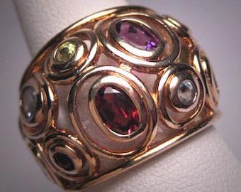 Vintage Gemstone Ring Gold Garnet Topaz Peridot Citrine Dome Ring