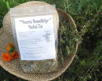 Loose Herbal Tea, Nerve Soothing, chamomile, thyme, marjoram, sage, Backyard Patch