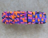 Circus Barrette, Large in Blue, Purple, Pink, and Orange Polymer Clay