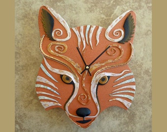 Fox Clock or Wall Art Sculpture in Copper, Gold, Black and White Polymer Clay