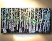 Large Abstract Art Landscape scenic Painting Canvas Black White Green Three panel Textured Canvas Aspen Birch Tree Oil Artwork Gift idea OTO