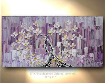 Heart Artwork, Purple Abstract, Tree Painting, White Flower, Abstract, Original Paintings, Canvas Art, Oil Painting, Wall Decor, by OTO