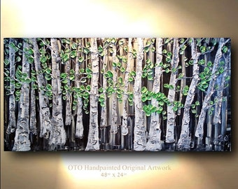 Large Office Abstract Art Landscape scenic Painting Canvas Black White Green Three panel Textured Aspen Birch Tree Oil Artwork Gift Idea OTO