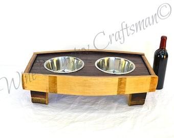 "MADRA - ""Pardalis"" - Wine Barrel Stave Dog Bowl - 100% recycled"