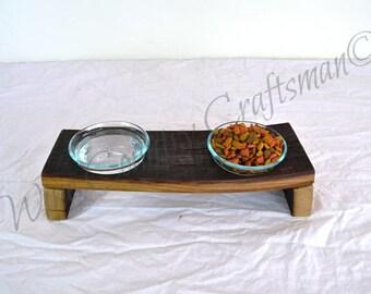 DOVELA - Megera - Wine Barrel Oak Wood and Glass Cat Food Dish - 100% recycled