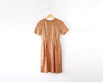 VINTAGE 1950s Brocade Dress Coral