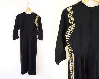 VINTAGE 1950s Black Dress Grecian Gold
