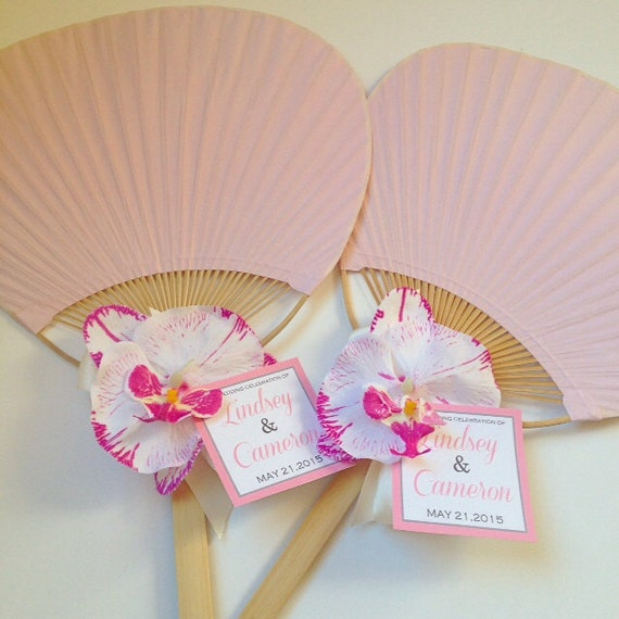 Paddle fan with orchid rainbow paddle fan beach wedding fan for Wedding paddle fans