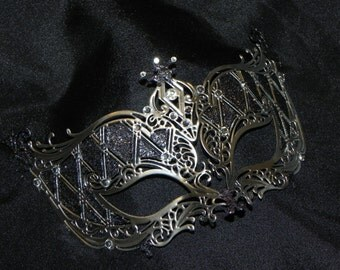 Silver or Gold and Rhinestone Metallic Masquerade Mask