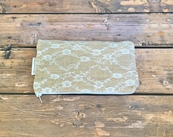 Pencil Case/Cosmetic Bag/ Gadget Case - Burlap and Lace