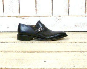 Vintage mens black leather slip on buckle oxfords/black leather shoes/Bally