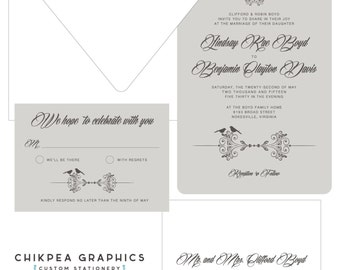 Birds of A Feather -- Bird themed layered vintage style wedding invitation, simple, and natural... Put A Bird On It