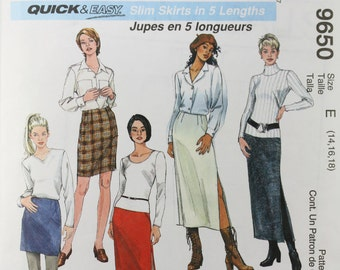 Size 14 16 18 McCalls Easy 9650 Skirts Short, Above Knee, Knee, Mid Calf, Ankle Length Business Fashion UNCUT Misses Women Sewing Pattern