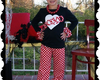 Valentine Ruffle Pant Set - Infant Toddler Youth Girl Sizes - 3M 6M 12M 18M 24M 2T 3T 4T 5T 6 7 8